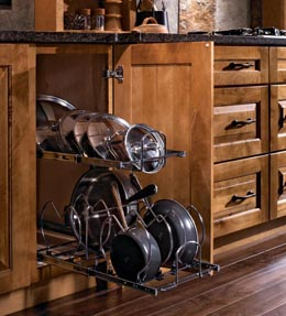 Tiered Pan and Lid Storage Pull-out