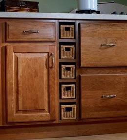 Wicker Base Spice Drawer Cabinet