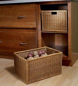 Base Open Wicker Basket Cabinet