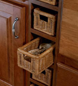 Wicker Base Spice Drawer Cabinet