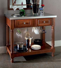 Chopping Block Table with Stem Glass Holder