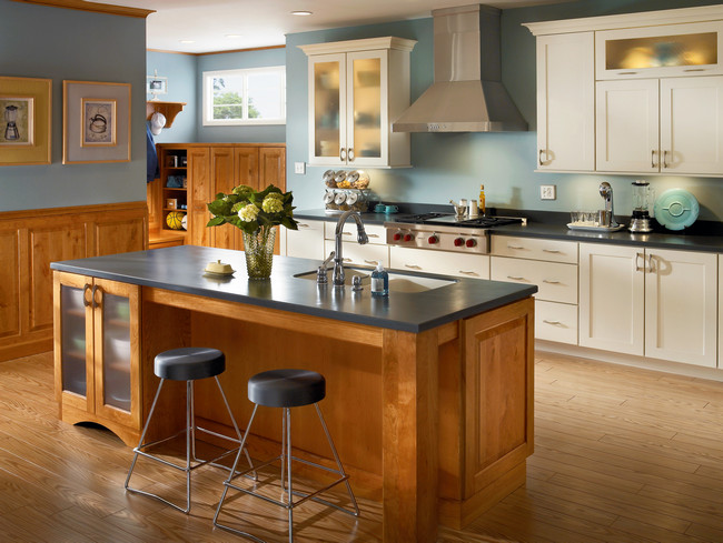 open kitchens with islands kitchen in honey spice and canvas kraftmaid 21127