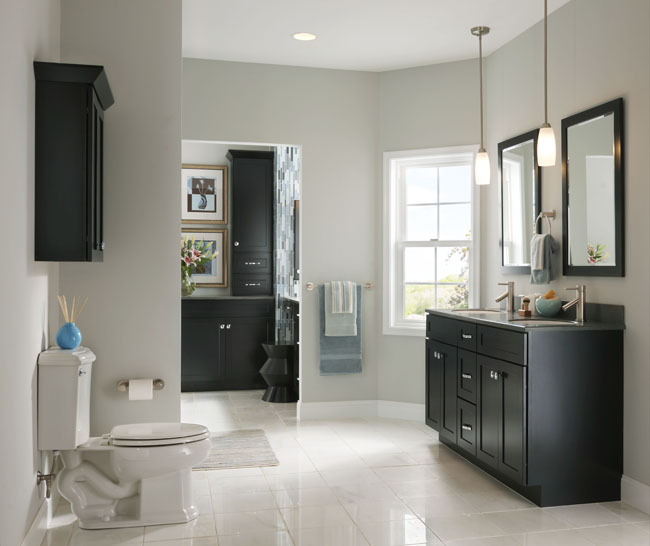 bathrooms with black cabinets maple bathroom in onyx kraftmaid 11898