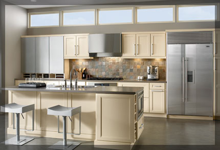Galley shaped kitchen kraftmaid cabinetry for Converting galley kitchen to open kitchen